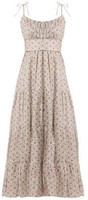 Zimmermann Heathers Tiered Floral Print Linen Dress - Womens - White Print