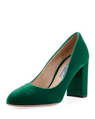 Prada Velvet 85mm Block-Heel Pump, Green $630 thestylecure.com