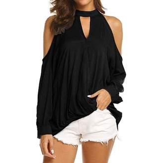 Changeshopping Blouse Changeshopping Sexy Women's Cold Shoulder Solid Color Pullover T-Shirt Tops