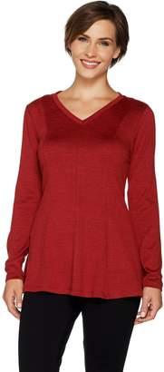 Denim & Co. Heavenly Jersey V-Neck Long Sleeve Fit & Flare Top