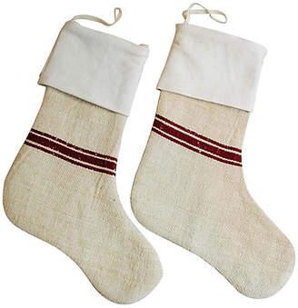 One Kings Lane Vintage European Textile Christmas Stockings
