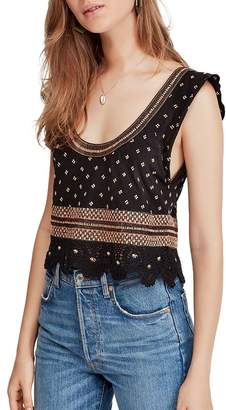 Free People Santorini Embroidered Scoop-Neck Top