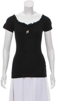 Gucci Short Sleeve Ruffled Top