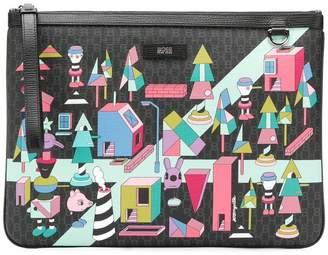 HUGO BOSS X Jeremyville multi print clutch