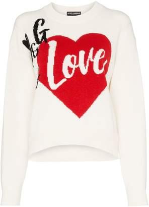 Dolce & Gabbana Is Love cashmere blend intarsia knit sweater