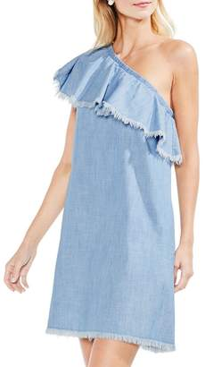 Vince Camuto Women's Frayed Ruffle Cotton One-Shoulder Dress
