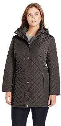Calvin Klein Women's Classic Quilted Jacket with Side Tabs - Plus Size
