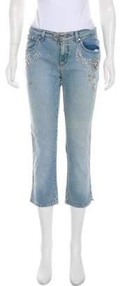 Blumarine Embellished Mid-Rise Jeans