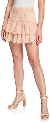 LoveShackFancy Amy Ruffle Eyelet Cotton-Blend Tiered Mini Skirt