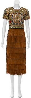 Burberry Embroidered Fringe Dress