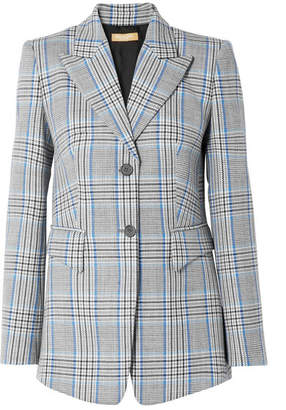 Michael Kors Plaid Wool Blazer - Blue