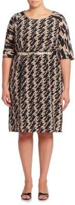 Max Mara Geometric Printed Belted Waist Dress