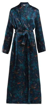 Derek Rose - Brindisi 28 Silk Satin Robe - Womens - Navy Print