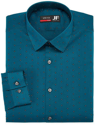 Jf J.Ferrar Easy Care Stretch Long Sleeve Broadcloth Dots Dress Shirt - Slim