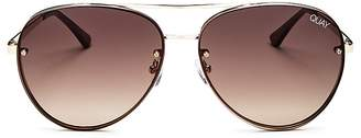 Quay Cool Innit Brow Bar Aviator Sunglasses, 56mm