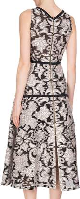 Roland Mouret Letwell Sleeveless Brocade Fil Coupé Midi Dress