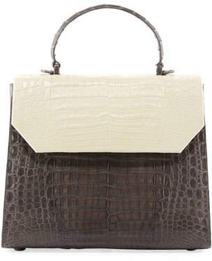 Nancy Gonzalez Lily Large Two-Tone Crocodile Top-Handle Bag