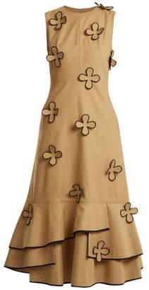 BEIGE Huishan Zhang - Corby Ruffled Hem Cotton Blend Dress - Womens
