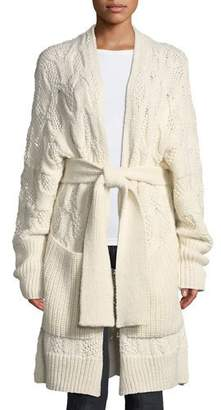 Joie Omeed Belted Cable-Knit Wool-Blend Cardigan