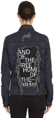 Distressed Printed Cotton Denim Jacket