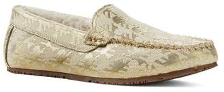 Womens Brocade Moccasin Slippers - 4 - Yellow Lands End