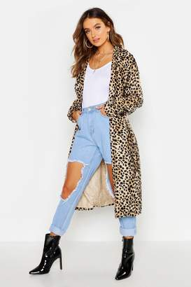 boohoo Faux Fur Leopard Trench Coat