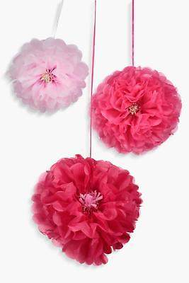 boohoo Womens 3 Pack Pink And Blush Flower Pom Poms in Pink size One Size