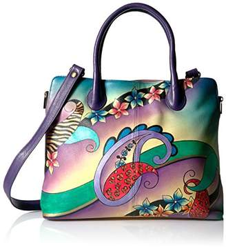 Anuschka Anna by Women's Genuine Leather Large Expandable Tote | Hand Painted Original Artwork | Paisley Collage Eggplant