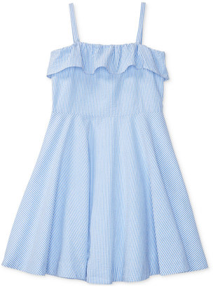 Ralph Lauren Cotton Fit & Flare Seersucker Dress, Big Girls (7-16) $65 thestylecure.com