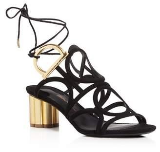 Salvatore Ferragamo Women's Vinci Suede Lace Up Floral Heel Sandals