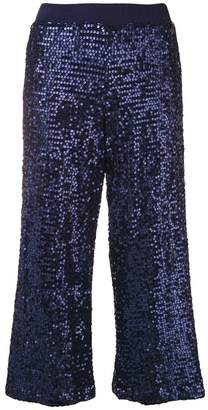 P.A.R.O.S.H. cropped sequin wide leg trousers