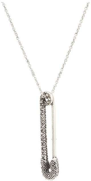 House Of Harlow Pav Safety Pin Necklace (Silver/Black) - Jewelry