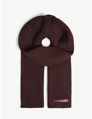 Prada Logo knitted wool scarf