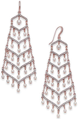 INC International Concepts I.n.c. Silver-Tone Pave & Imitation Pearl Chandelier Earrings, Created for Macy's