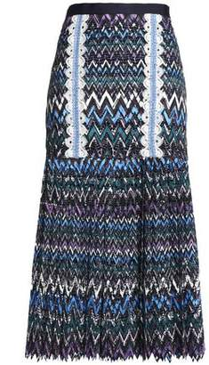 Saloni Diana Crochet-Trimmed Printed Guipure Lace Midi Skirt