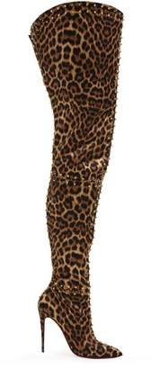 bbb875820e5 Christian Louboutin Metrolisse Leopard Print Over The Knee Boots - Womens -  Leopard