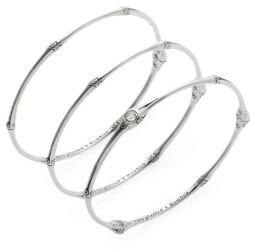 John Hardy Bamboo White Topaz & Sterling Silver Bangle Bracelet Set