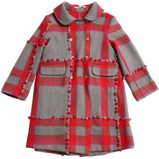 Péro EMBROIDERED POMPOM CHECK WOOL KNIT COAT