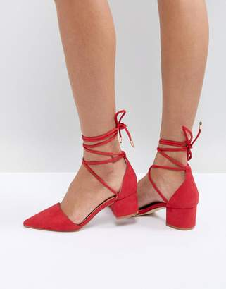 Raid RAID Lucky Red Ankle Tie Mid Block Heeled Shoes