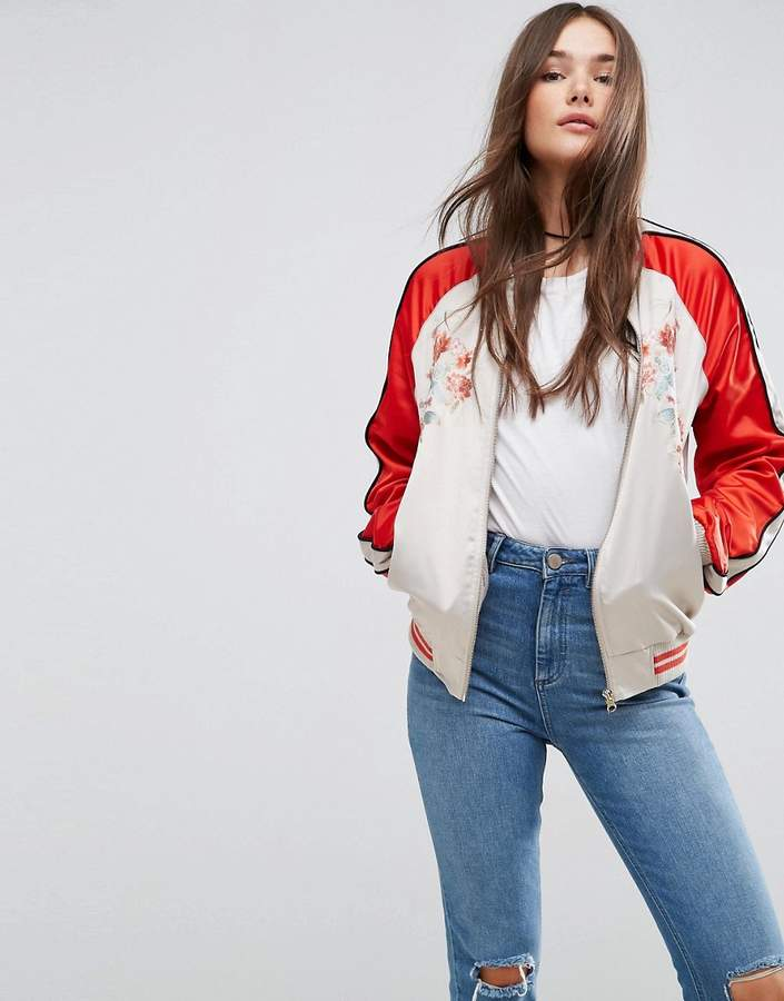 ASOS Bomber Jacket With Fish Embroidery