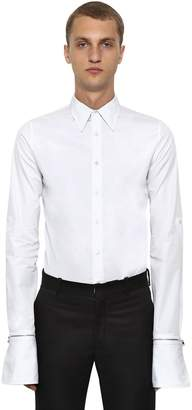 Alexander McQueen Organic Cotton Shirt W/ Zip Cuffs