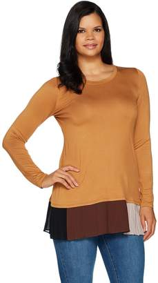 Logo By Lori Goldstein LOGO by Lori Goldstein Solid Knit Top w/ Contrast Pleating