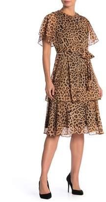 Rachel Roy Short Flutter Sleeve Animal Print Dress