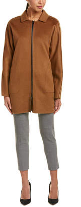 Lafayette 148 New York Leather-Trim Cashmere Car Coat