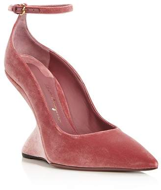 Salvatore Ferragamo Tivoli Velvet F-Wedge Ankle Strap Pumps