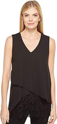 Karen Kane Women's Layered Lace Hem Top