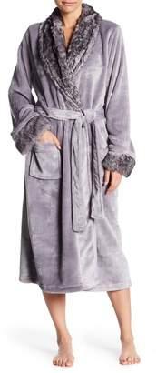 Shimera Faux Fur Trim Plush Robe