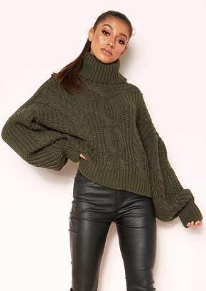 63c0699b9d Missy Empire Missyempire Hana Khaki Cable Knit Roll Neck Jumper