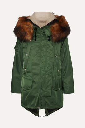 Burberry Faux Fur-trimmed Shell Parka - Army green