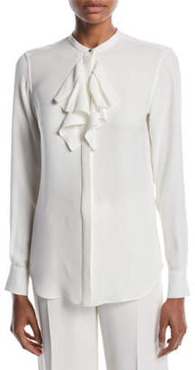 Loro Piana Grete Ruffled-Front Long-Sleeve Matte Silk Blouse